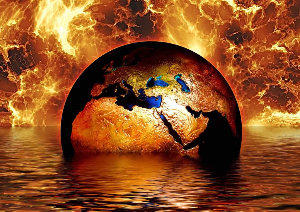 Our planet, Earth, sinking into a flaming sea - climate change in extremis