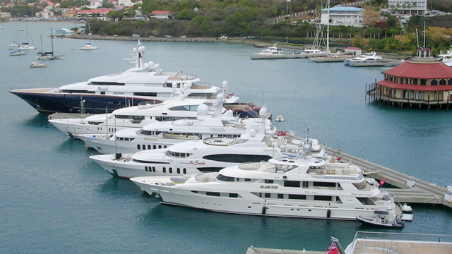 Image: yachts docked in harbor