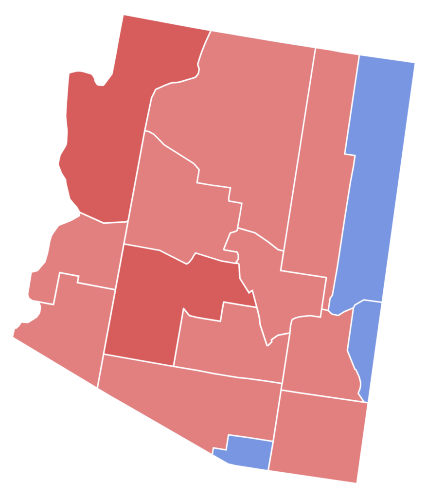Map showing Arizona counties political Divisiobs