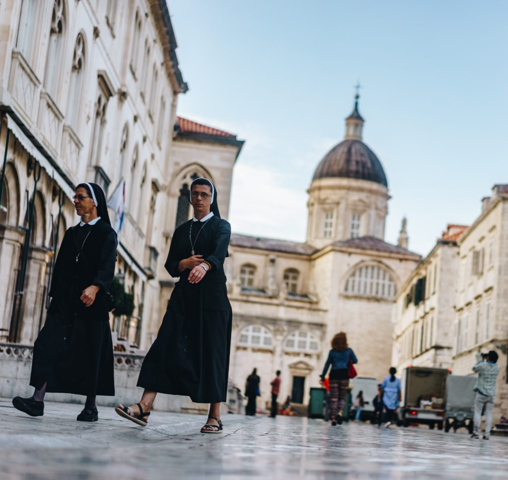 Catholic child abuse two nuns walk at the Vatican