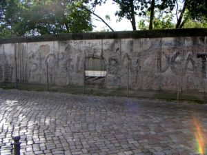 Photo of wall between East and West Germany